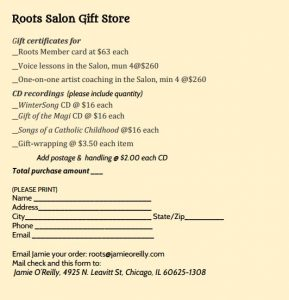 Roots gift order form